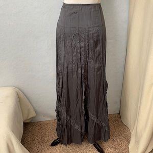 Karen Kane Metallic Gray Ruffle Bottom Ankle Skirt